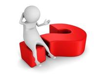 Homem 3d branco que senta-se no ponto de interrogação vermelho grande Imagens de Stock