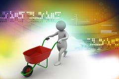homem 3d com carrinho de mão de roda Foto de Stock