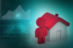 homem 3d com casa, conceito dos bens imobiliários Imagem de Stock