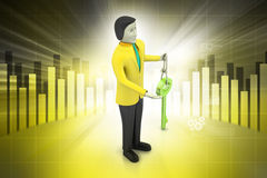 homem 3d com chave Fotografia de Stock