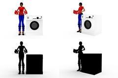 homem 3d com coleções do conceito da máquina de lavar com Alpha And Shadow Channel Foto de Stock Royalty Free