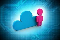 homem 3d com conceito da nuvem Imagem de Stock Royalty Free