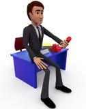 homem 3d com conceito do receptor de telefone Imagens de Stock Royalty Free
