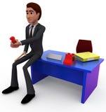homem 3d com conceito do receptor de telefone Fotografia de Stock Royalty Free