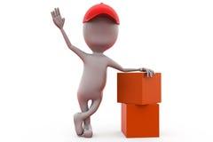 homem 3d com conceito dos pacotes Foto de Stock Royalty Free