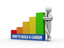 homem 3d com construção que um negócio crescente da carreira barra Imagem de Stock Royalty Free
