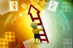 homem 3D com escada Fotografia de Stock Royalty Free