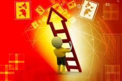 homem 3D com escada Fotos de Stock Royalty Free