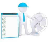 homem 3d com fã e lista de verificação do desktop Imagem de Stock