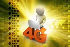 homem 3d com 4G e portátil Imagem de Stock Royalty Free