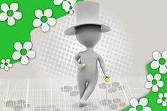homem 3d com ilustração do chapéu e do bastão Fotografia de Stock Royalty Free