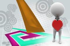 homem 3d com ilustração do coração Imagens de Stock Royalty Free