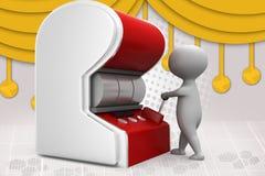 homem 3d com ilustração do slot machine Fotografia de Stock Royalty Free