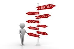homem 3d com líder Motivate Success Goal Team Work Imagens de Stock Royalty Free