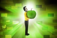 homem 3d com maçã Foto de Stock Royalty Free