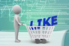 homem 3d com o trole da compra com ilustração como do texto Fotos de Stock Royalty Free