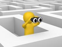 homem 3d com os binóculos dentro do labirinto ilustração stock
