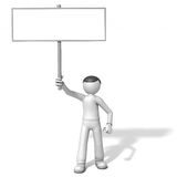 homem 3d com placa do sinal ilustração do vetor