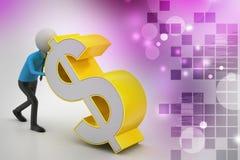 homem 3d com sinal de dólar Foto de Stock Royalty Free