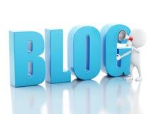 homem 3d com sinal do blogue Conceito da notícia no fundo branco Foto de Stock