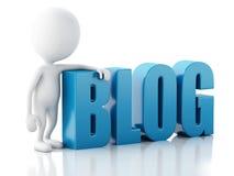 homem 3d com sinal do blogue Conceito da notícia no fundo branco Imagem de Stock