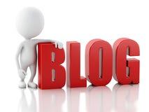 homem 3d com sinal do blogue Conceito da notícia no fundo branco Fotos de Stock Royalty Free
