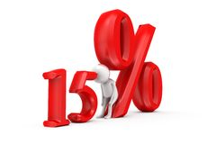 homem 3d conceito de um disconto de 15 por cento Foto de Stock Royalty Free