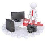 homem 3d e dispositivos eletrónicos Imagem de Stock Royalty Free