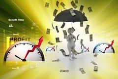 homem 3d e guarda-chuva na chuva do dinheiro Fotos de Stock