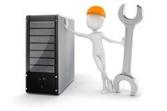 homem 3d e servidor, manutenção de hardware ilustração stock