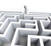 homem 3d em Maze Shows Challenge Or Confused Fotografia de Stock Royalty Free
