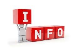 Homem 3d isolado com texto de informação Foto de Stock