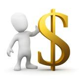 homem 3d pequeno com um símbolo do dólar americano do ouro Imagens de Stock