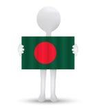 homem 3d pequeno que guarda uma bandeira de People's Republic of Bangladesh Imagens de Stock Royalty Free