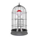 homem 3d prendido dentro de uma gaiola de pássaro do fio Imagem de Stock Royalty Free