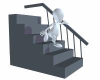 homem 3d que anda abaixo das escadas usando trilhos Fotos de Stock Royalty Free