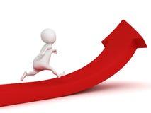 homem 3d que corre acima a seta vermelha crescente Imagens de Stock