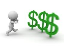 homem 3D que corre após o símbolo do dólar Foto de Stock Royalty Free
