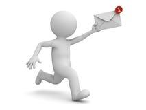 homem 3d que corre com notificação do email em sua mão Fotografia de Stock Royalty Free