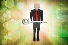 homem 3d que dá a chave dourada a uma outra pessoa Imagens de Stock