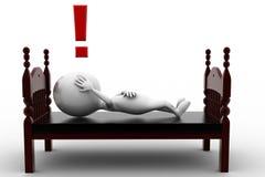 homem 3d que dorme e que pensa Imagem de Stock