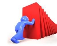 homem 3d que empurra e que para os dominós que caem, ilustração 3D Fotografia de Stock