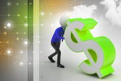 homem 3d que empurra o sinal de dólar Imagens de Stock Royalty Free