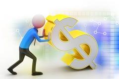 homem 3d que empurra o sinal de dólar Imagem de Stock