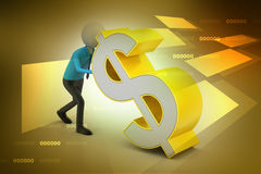 homem 3d que empurra o sinal de dólar Fotografia de Stock