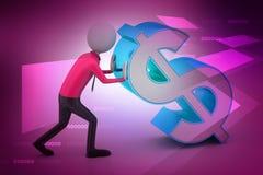 homem 3d que empurra o sinal de dólar Imagens de Stock