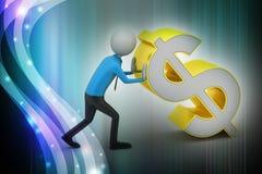homem 3d que empurra o sinal de dólar Fotografia de Stock Royalty Free