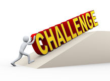 homem 3d que empurra a palavra do desafio Imagens de Stock