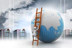 homem 3d que escala o globo com a ajuda da escada Fotografia de Stock