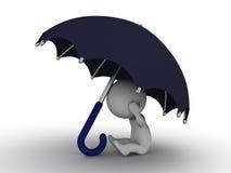 homem 3D que esconde sob o guarda-chuva - conceito da segurança Fotos de Stock Royalty Free